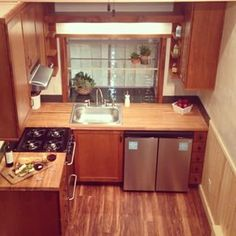 Kitchen shot from sleeping loft. We have been remodeling kitchens for years, but this is our first tiny one. It's not that tiny.