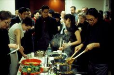 Argentinean-born Thai artist Rikrit Tiravanija's first untitled solo show at 303 Gallery, New York in 1992. During the length of that exhibition, Tiravanija cooked Thai food for visitors in a kitchen set up within the gallery.