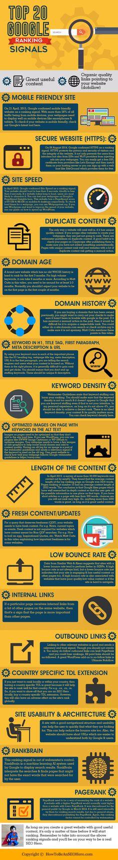Top 20 Google Ranking Signals Infographic