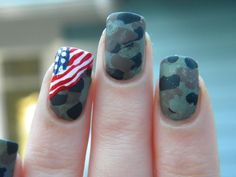 Camo manicure with USA flag accent nail Memorial   Veteran's Day Nail Designs #nailart