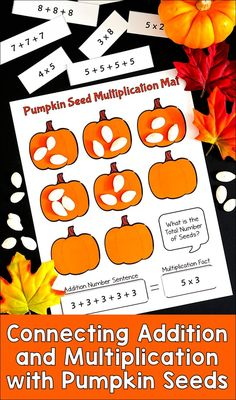 Pumpkin Seed Multiplication is a fun, seasonal partner activity that uses pumpkin seeds to help kids make the connection between addition and multiplication. There are no Halloween images, so it's appropriate any time of the year, and especially during fa