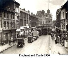 Walworth Road/Cumberland Row looking towards Elephant and Castle. Old London, London Bus, Vintage London, South London, London Pictures, London Photos, Old Pictures, Old Photos, Elephant And Castle