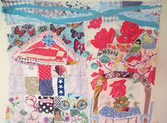 Your place to buy and sell all things handmade Fabric Labels, Quilt Art, Recycled Fabric, Fabric Art, Fabric Scraps, A Table, Red Roses, Vintage Antiques, Primitive