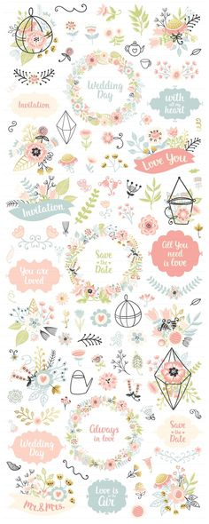 300 Wedding Floral Romantic Set by Qilli on @creativemarket
