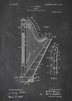 This Harp patent print is a great addition to any home, office or man cave! Get this harp poster in a range of styles from patent wall art. Diy Wall Art, Diy Art, Wall Decor, Wall Art Prints, Poster Prints, Posters, Paint Chip Art, Nail String Art, Paint Swatches