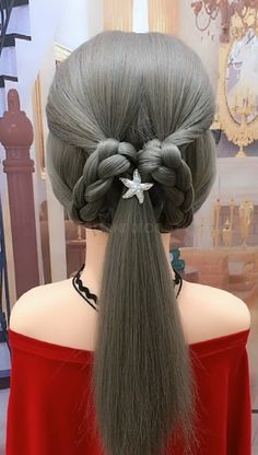 This hairstyle suits you a fast simple but elegant braid for formal or dressy occassions Box Braids Hairstyles, Girl Hairstyles, Simple Hairstyles For Long Hair, Hair Upstyles, Hair Videos, Hair Hacks, Hair Trends, Hair Inspiration, Curly Hair Styles