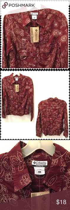 """NEW Maroon Floral Print Snap Front Shirt COLUMBIA Brand New Snap front shirt by COLUMBIA. Maroon floral print. Fitted. Sz Medium (19"""" across chest, 24"""" shoulder to hem) Columbia Tops Button Down Shirts"""