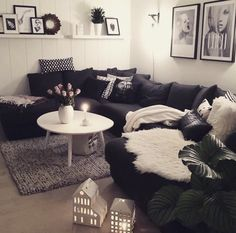 White black living room with sectional