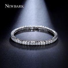 NEWBARK Classic Square 3mm CZ Diamond Tennis Bracelets for Woman White Gold Plated Princess Cut CZ Wedding Jewelry