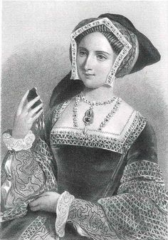 """Victorian engraving of Queen Jane Seymour, who was said to be """"the fairest of all the King's wives"""" (Sir John Russell)."""