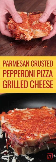 Parmesan-Crusted Pepperoni Pizza Grilled Cheese - Is it a pizza? Is it a grilled cheese? Do you care? : Thrillist