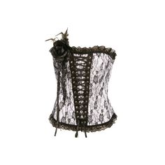CORSETS - Lace corset with corsage ($27) ❤ liked on Polyvore featuring corsets, tops, shirts and black
