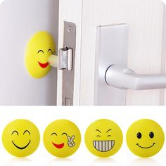 Cheap lock cylinder, Buy Quality lock code directly from China lock door Suppliers: Bathroom Smile Face Door Rear Wall Anti Collision Supplies Mute Anti Touch Door Handle Lock Protection Rubber Shock Door Knobs, Door Handles, Emoji, Padded Wall, Cheap Wall Stickers, Bathroom Accessories Sets, Door Locks, Smile Face, 3d Wall