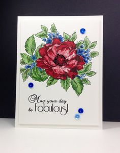 Beautiful Day: Altenew, masking, flower sketch, 2 step stamping on big flower, copic on small ones, by beesmom at splitcoast