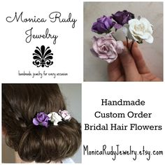These delicate and carefully handmade paper flower hair pins are just what you are looking for to make your wedding a magical fairy tale experience.