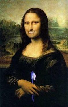 Mona Lisa Just Got Done Brushing Teeth
