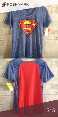 DC Comics Superman Shirt w/ Cape Great shirt for any super girl! Blue heathered shirt with distressed Superman emblem on the front and attached red cape on the back... Cotton/polyester... fitted style top DC Comics Tops Tees - Short Sleeve