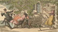 The dance of death: Tom Higgins by T. Rowlandson, The Wellcome Library, CC BY Dance Of Death, Danse Macabre, Toms, Painting, Color, English, Art, Printmaking, Death