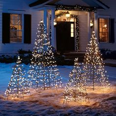 'Tis the season. to decorate your lawn with this Pre-lit Fold-Flat Metal Christmas Tree.The steel frame and durable lighting system ensure that this tree will greet guests and neighbors for many holidays to come. Christmas Lights Outdoor Trees, Potted Christmas Trees, Front Door Christmas Decorations, Metal Christmas Tree, Decorating With Christmas Lights, White Christmas, Holiday Decor, Christmas Stage, Christmas Yard