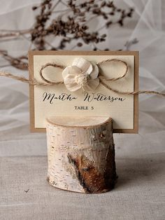 Rustic Place Card Holder with Place Card 135 by 4invitationwedding