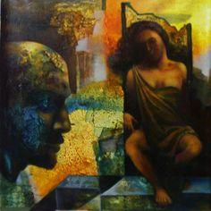 Dolna code: SKS003  Mist of memory by Sanjay Kumar Srivastav. Acrylic on canvas, 20 x 20 (inches), INR 1,20,000.