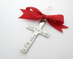 Personalized Cross Ornament - Childs Baptism - First Communion Gift - Godmother Gift - Baby Dedication - Godfather - Godparents - Christmas Ornament - New Baby - at www.jewelrybyrmsmith@gmail.com