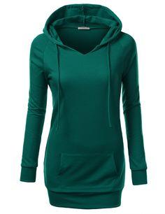J.TOMSON Womens Long Sleeve Raglan Crewneck Tunic Sweatshirt EMERALD XX-LARGE