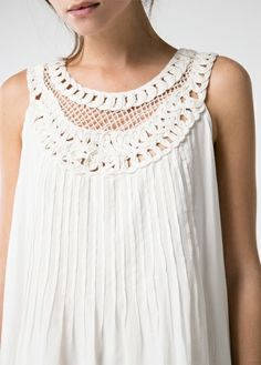 Sleeveless dress with embroidered cord on the top, mesh appliqué, pintuck details and inner lining. Mango Fashion, White Fashion, Moda Mango, Holiday Wardrobe, Weekend Wear, Spring Summer Fashion, Blouses For Women, Ideias Fashion, Style Me