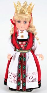 Hardanger Bride from Norwegian Dolls 12 inches. A Hardanger bride, a fairytale princess, upon her wedding day she wears a crown. Dif in belt, crown.