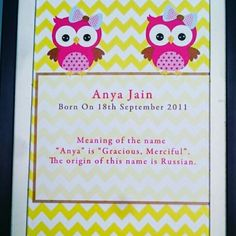 Owl Themed Name Frames. With Meaning of the Name #personalised #stationery #personalisedgifts #paperart #printed #stationery  #Festival #lights #digitalart  #festivalgifts #personalisedprint #notecards #giftcards  # #fun #gifts #love #instagood #cute #beautiful #picoftheday #family #friends #Wallart #kidsart #name #poster #posterdesign
