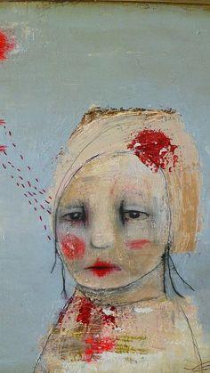 "original mixed media painting by Christina Romeo  ""Pearl"" $485.00"