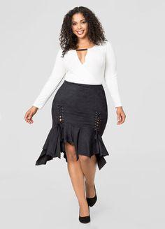 Micro Suede Uneven Hem Skirt