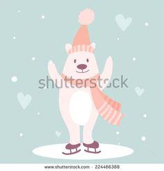 Vector cute bear in winter hat skate - stock vector