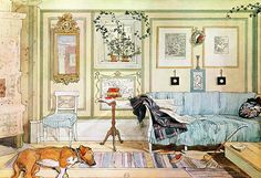 Carl Larsson's living room at Lilla Hyttnäs.