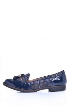Tess Check and Patent Loafer in Blue Patent Loafers, Walking, Footwear, Valentines, Comfy, Pairs, Flats, Check, Blue