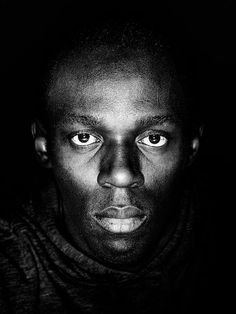 Portrait, Usain Bolt by Filip Vanzieleghem Fastest man on the planet! We Are The World, People Of The World, Black And White Portraits, Black And White Photography, Pop Art, Black Celebrities, Modern Man, Famous Faces, Black People