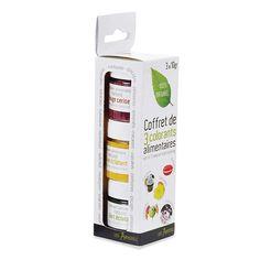 Sucres, arômes et ingrédients : Coffret 3 colorants alimentaires rouge, jaune et vert