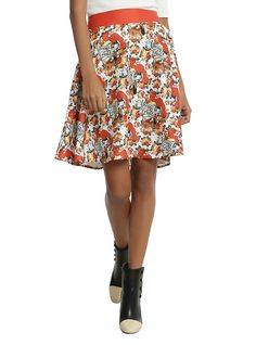 Disney Fox And The Hound Toss Print Circle Skirt, RED