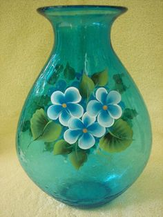 Hand Painted Aquamarine Glass Vase by NaturesPetals on Etsy