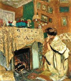 Édouard Vuillard - Madame Hessel au coin du feu dit devant la cheminée, 1917-18.
