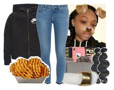 """BTS"" by aribearie ❤ liked on Polyvore featuring NIKE, &K and Paige Denim"