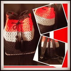 2ofaKIND handmade crochet drawstring pouch carried also as backpack