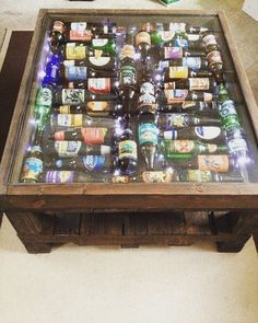 Items similar to beer bottle coffee table with led light .- Ähnliche Artikel wie Beer Bottle Coffee Table With LED lights auf Etsy Items similar to beer bottle coffee table with led lights on etsy -