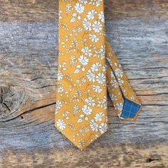 Liberty Of London Tie. Liberty Print Necktie. Yellow Tie. Floral Tie. Retro Tie. Wedding Accessory. Mens Vintage Clothing. Stylish Tie. by BrinkoTies on Etsy