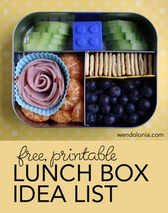 Lunch Box Idea List-I love Bento Boxes,that is one smart Mom who thoughht of the idea!