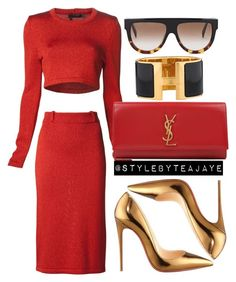 """Untitled #1688"" by stylebyteajaye ❤ liked on Polyvore featuring Calvin Klein Collection, Christian Louboutin, Yves Saint Laurent, Hermès and CÉLINE"