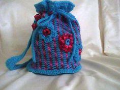Flower Striped Drawstring Bag By: Bernat