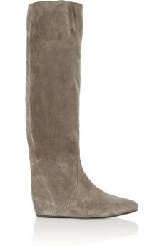 Lanvin Suede wedge knee boots | NET-A-PORTER