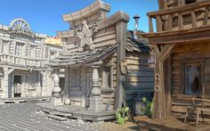 Blender Cycles render, 5200 samples, 2304 x Environment Concept Art, Environment Design, 3d Architecture, 3d Studio, Process Art, Environmental Art, Wild West, Game Design, Design Model