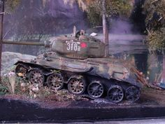Russian T-34 after burned hit by German Panzer, 1/35 scale by ademodelart